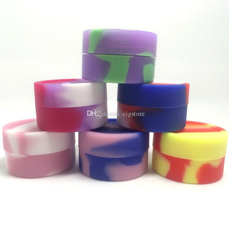 De calidad superior de silicona antiadherente contenedores de cera de grado alimenticio 3 ml 5 ml mini tarro Dab Waxy Jars caja de aceite concentrado aprobado por la FDA caja de ecig