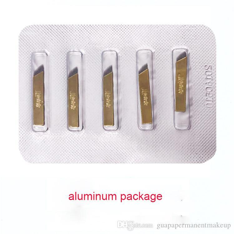 Pacote de alumínio 14 pins lâminas de agulhas para Sobrancelha 3D bordado sobrancelha Microblading Agulhas manual caneta três start lâmina agulhas