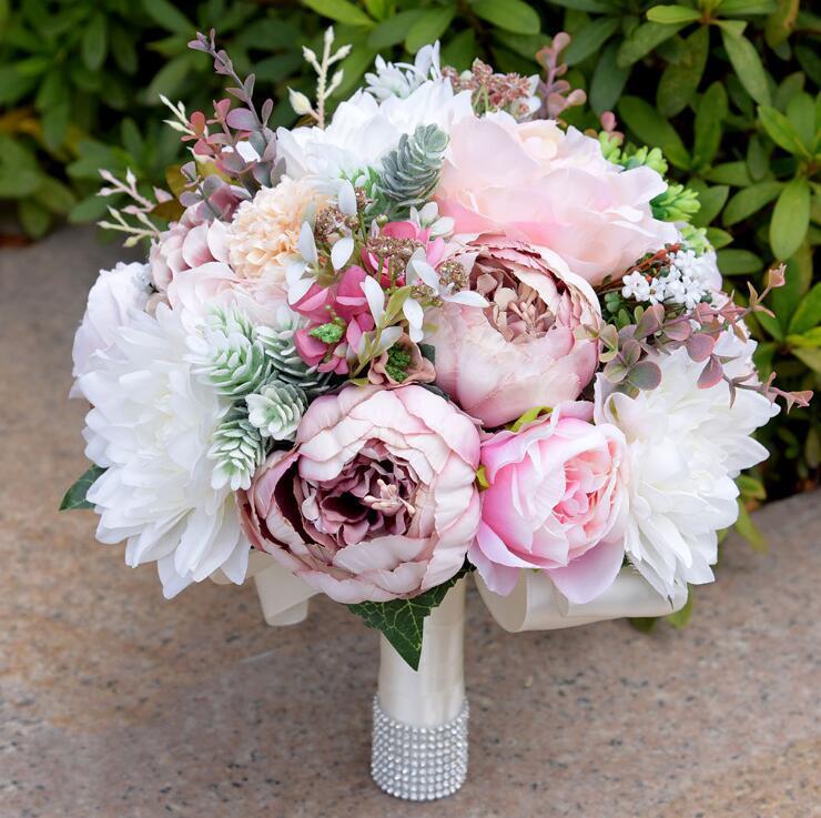 DIA 24 cm moda europea fiore artificiale foglia pianta peonia bouquet da sposa fatto a mano in cristallo di seta bouquet da sposa decorazione