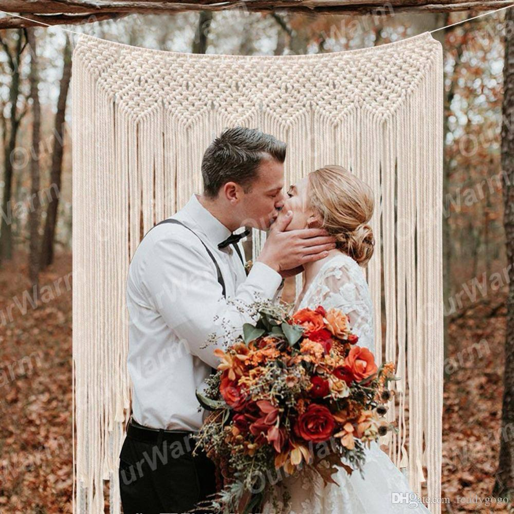 "Ourwarm Macrame Wedding Backdrop Curtain Wall Hanging Boho Wedding Hanger Cotton Handmade Wall Art Home Wall Decor 39 ""*45 """