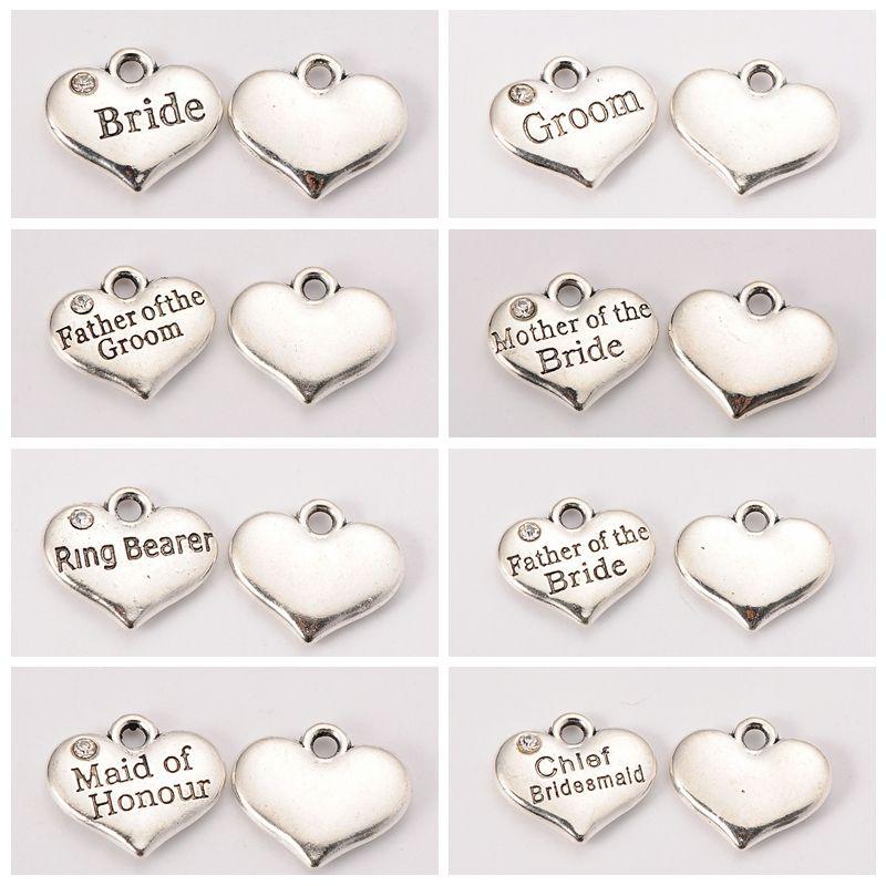 Wedding Alloy Metal Theme Antique Silver Ceremony Word Tibetan Style Heart Bride Groom Jewelry Rhinestone Charms Pendant Crystal