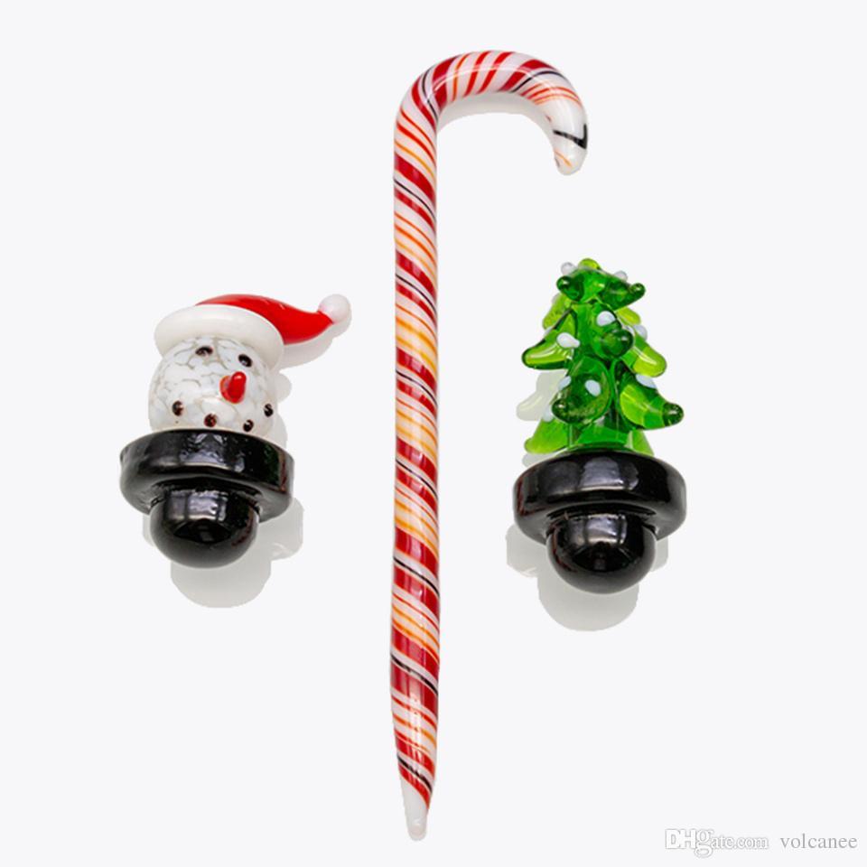 Lindo conjunto de Navidad Muñeco de nieve Burbuja de cristal Herramienta de la tapa de carbohidratos Ajuste Hookahs XL Biselado Edge Quartz Banger Bong Dab Rig