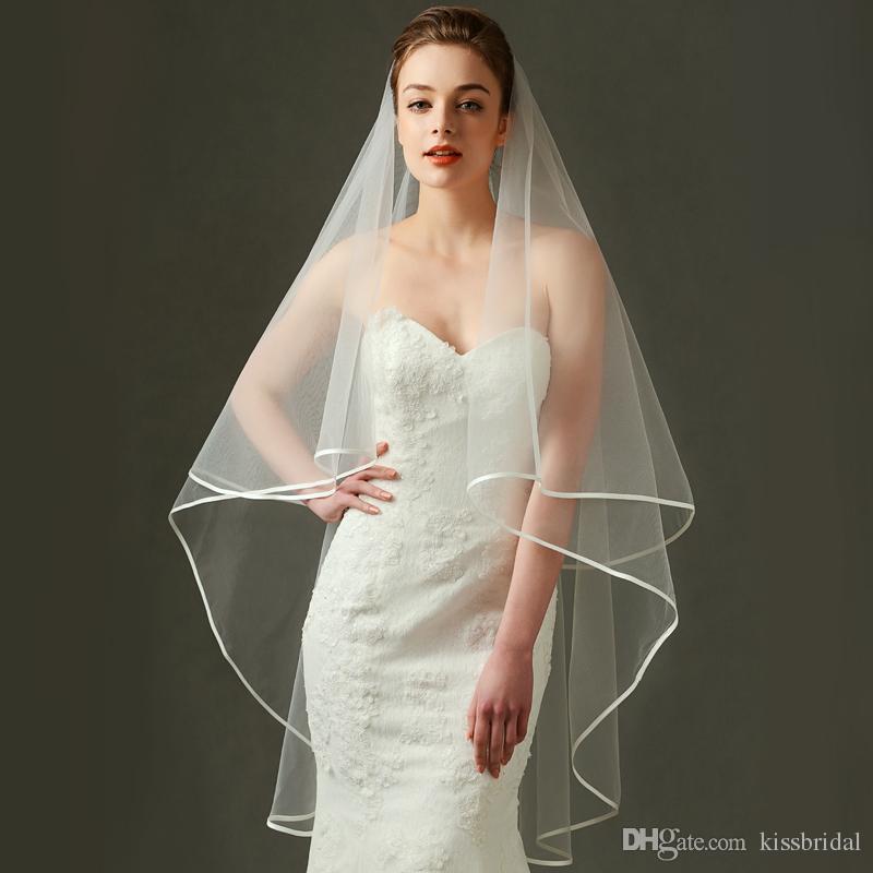 Simple 2 couches tulle voiles de mariage de mariée avec peigne nouvel arrivée accessoires de mariée bon marché voile ivoire