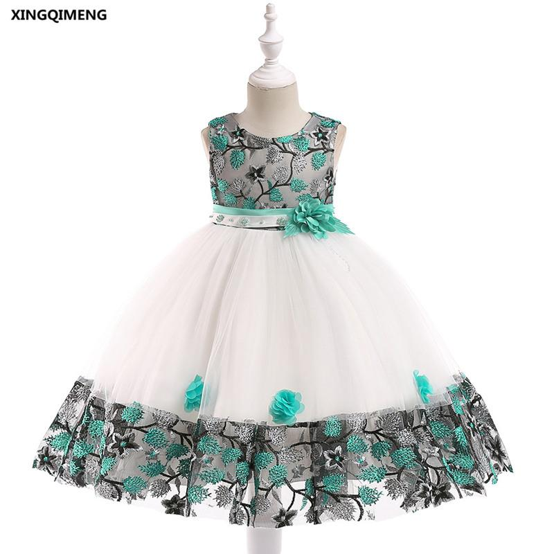 In magazzino Green Flower ricamo Girl Dress per matrimoni 3-8Y Cheap Classic abito formale per Kids Short Pink Pageant Tulle Gown