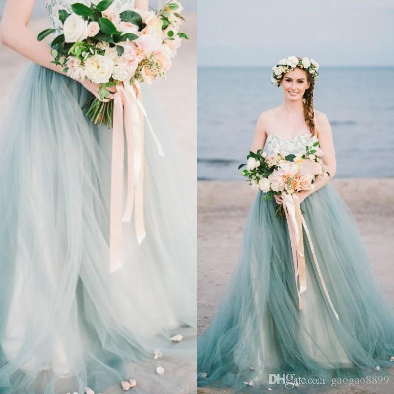 Discount Fairy Colorful Country Beach Wedding Dresses Bridal Gowns  Strapless Sweetheart Lace Tulle Pale Blue Tulle Sweep Train Petals Plus  Size ...