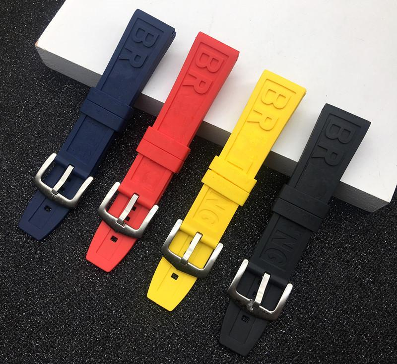 Nature caoutchouc Bracelet 22mm 24mm Noir Bleu Rouge Yelllow Bracelet Bracelet Pour // logo du groupe sur
