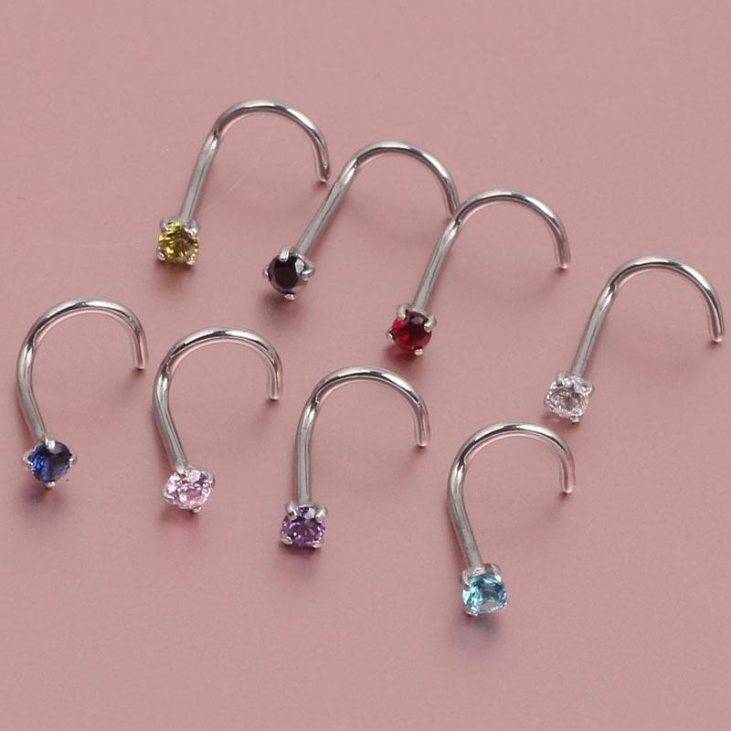 2020 20g Nose Ring Prong Set Cz Stud Screw Gold Silver Clear