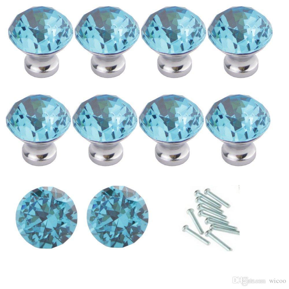 Aqua Blue 10 Pack Diamond Shape Crystal Pull Handle Cabinet Knobs for Drawer