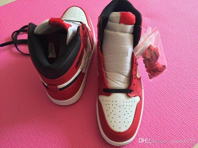 Con la caja 1 Chicago alta OG de rojo con blanco zapatos de baloncesto de los hombres que los deportes las zapatillas de deporte de alta calidad al por mayor de tamaño 5-12 36-46