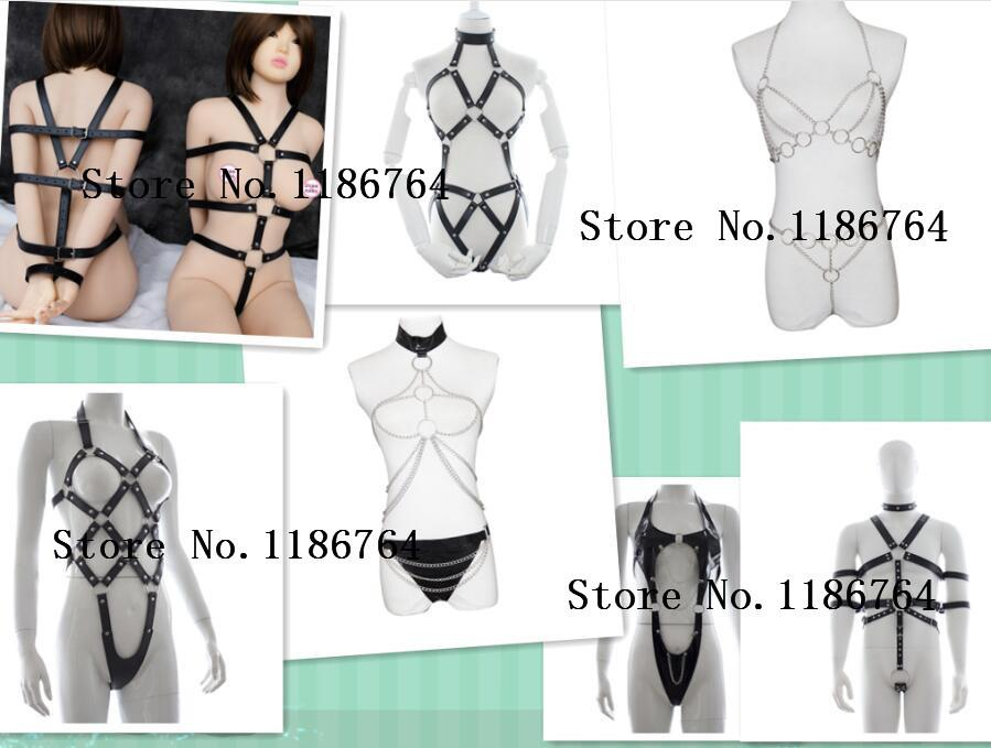 sexy lingerie suit exposed breast chastity sex products for adult game slave bondage restraints Body harness fetish Costume S18101509