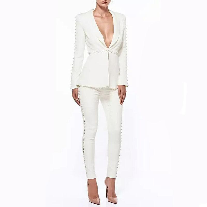 2018 Autumn Formal White Jacket+Pants white Women Elegant Business Suits Single Button Blazer Female Office Trouser Pant Suits