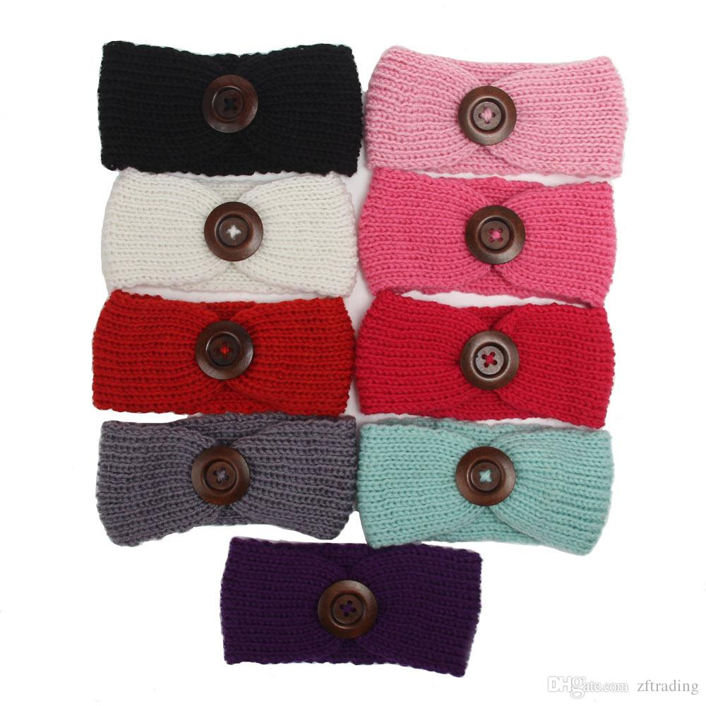 Children's button knit hair band baby headband Europe and America autumn and winter new baby hood