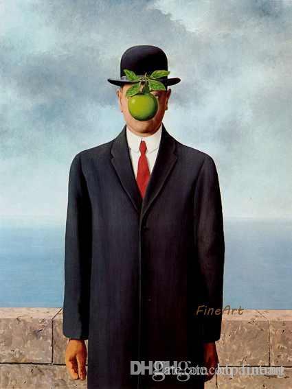 handgemachte Malerei Surrealist Rene Magritte Ölgemälde Reproduktion Wandkunst Ölbilder Dekoration Bild einzigartige Geschenke Kung Fu Kunst