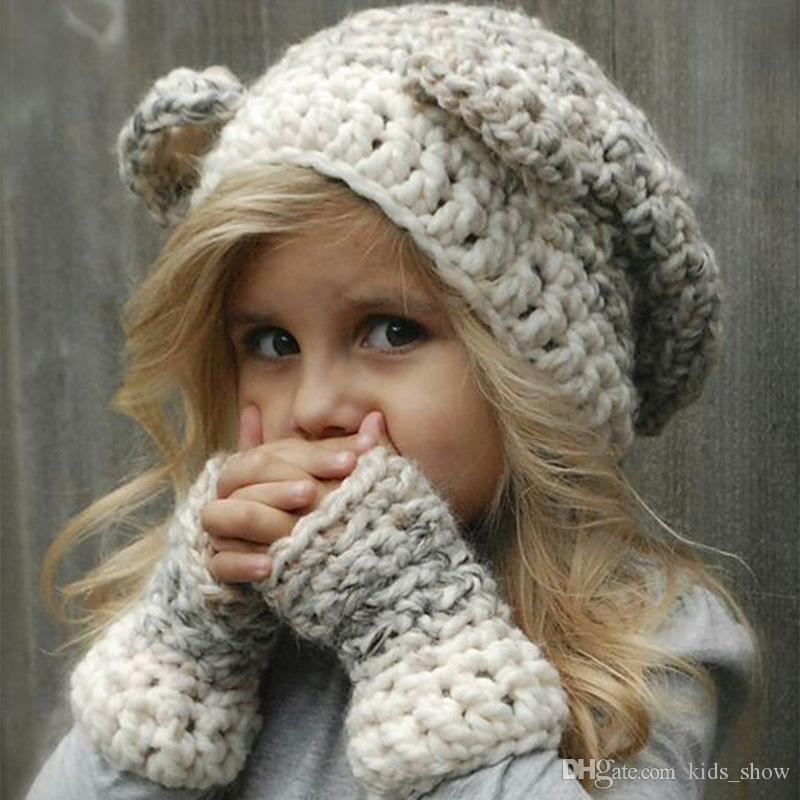 Cute Bear Ears Knitted Caps for Infant Toddler kids Winter Bear Hats Warm soft Baby Girl Bear braid Beanie Hat with gloves