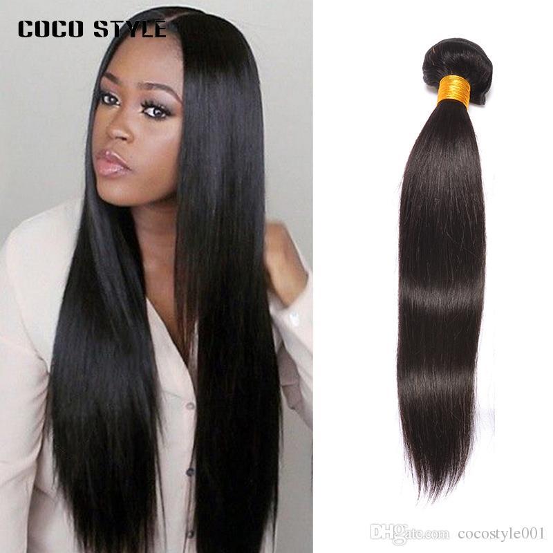 Brasileira Feixes de Cabelo Em Linha Reta 100% Cabelo Humano Weave Bundles 100 g / pc Cor Natural Preto Sem Derramamento Não Remy cabelo