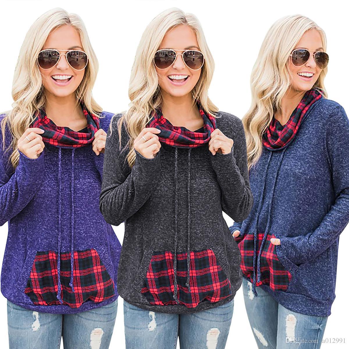 2018 женщин с длинным рукавом кучи воротник пуловер женщины Осень Зима толстовка кенгуру карман толстовки сетки цвет блока Пуловер 3 цвета