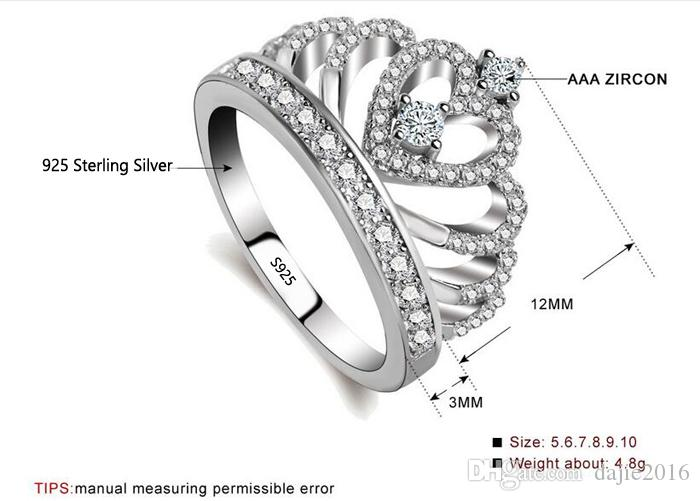 Micro-inlay Cubic Zirconia 925 Sterling Silver Adjustable Solitaire Crown Ring