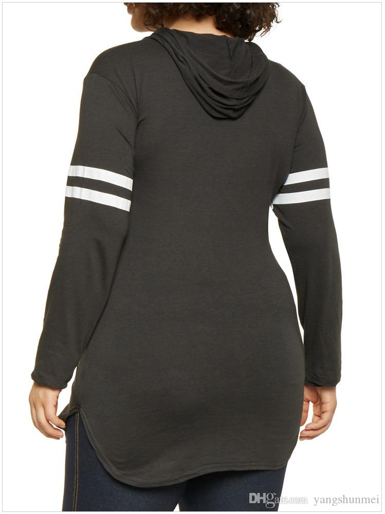 Plus Size Manga Comprida Camisola 5XL Stripe Hoodies Top Outono Inverno Mulheres Causal Oversized Top Jogging Femme