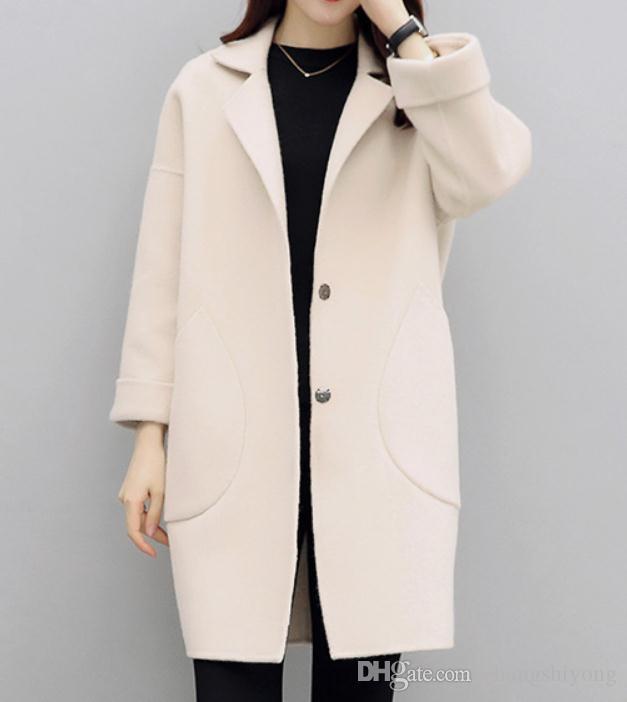 Бесплатно отправить шерстяное пальто женский средней длины корейский 2018 новый стиль