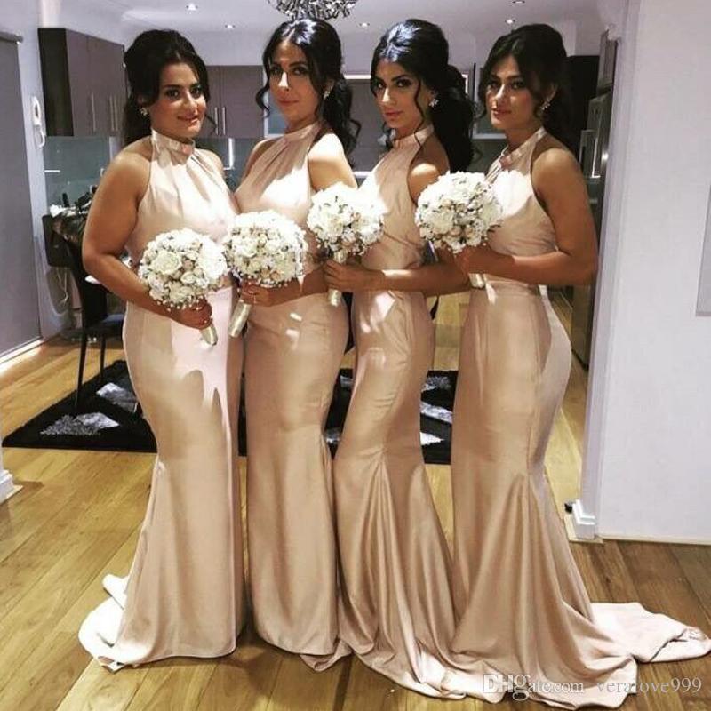 Halter Mermaid платья подружки невесты 2018 года без рукавов Длинные честь горничных платьев свадебные гостевые платья плюс нестандартный размер