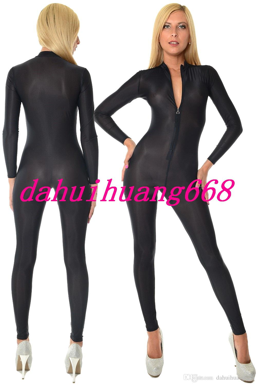 مثير دنة الحرير الجسم البدلة ازياء 6 اللون دنة الحرير البدلة catsuit ازياء مثير الجبهة زيبر ارتداءها ازياء لا رئيس / اليد / القدم DH127