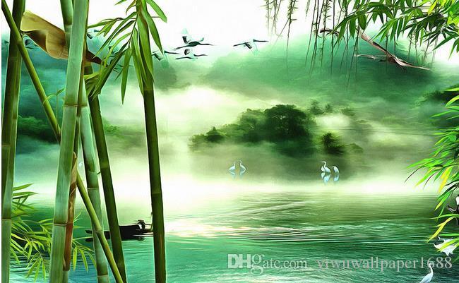 peintures murales personnalisées Eau claire, ciel bleu, peinture de paysage, fond de TV, peinture murale, peinture sans cadre, peinture décorative