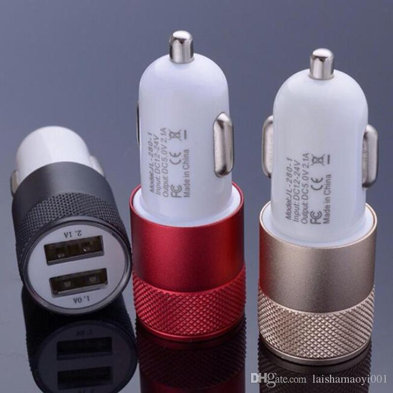 Colorful 2.1A 1A Bullet Mini USB Car Charger Universal Adapter for iphone 4 5 5S 6 6S 7 7plus Cell Phone PDA MP3 MP4