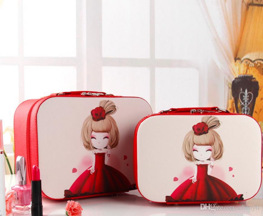 2018 جديد الكورية لطيف حالة مستحضرات التجميل ، مربع ماكياج المحمولة ، حقيبة مستحضرات التجميل المهنية ، كيس ماء السفر غسل.