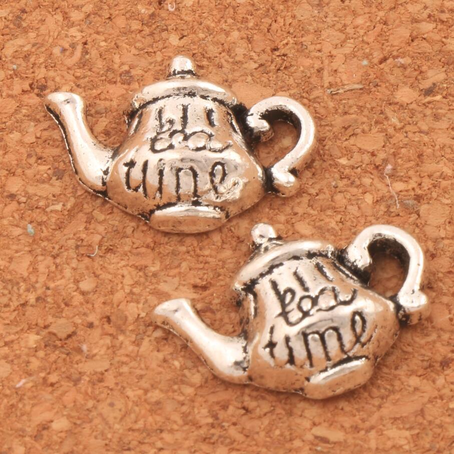 Tea Time Teapot Spacer Charm Beads 14.4x18.6mm 200PCS Antique Silver Pendants Alloy Handmade Jewelry DIY L397
