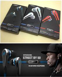 Cheapest Fashionable SMS Audio 50 cent In-Ear headphones Mini 50 cent with mic and mute button earphone STREET by 50 Cent earbud 3 colors