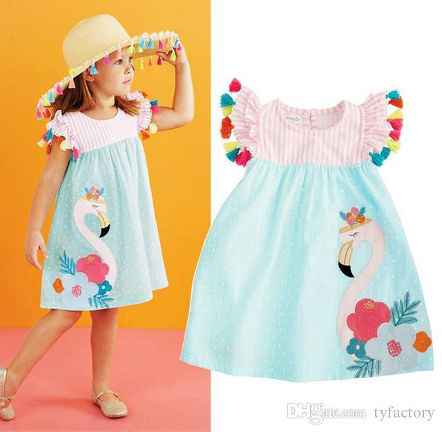 Kids Baby Girls Striped Swan Dresses Tassel Flower Dot Dress Animal Summer Children Clothing Boutique 2018 Princess Tutu Dresses Kid Clothes
