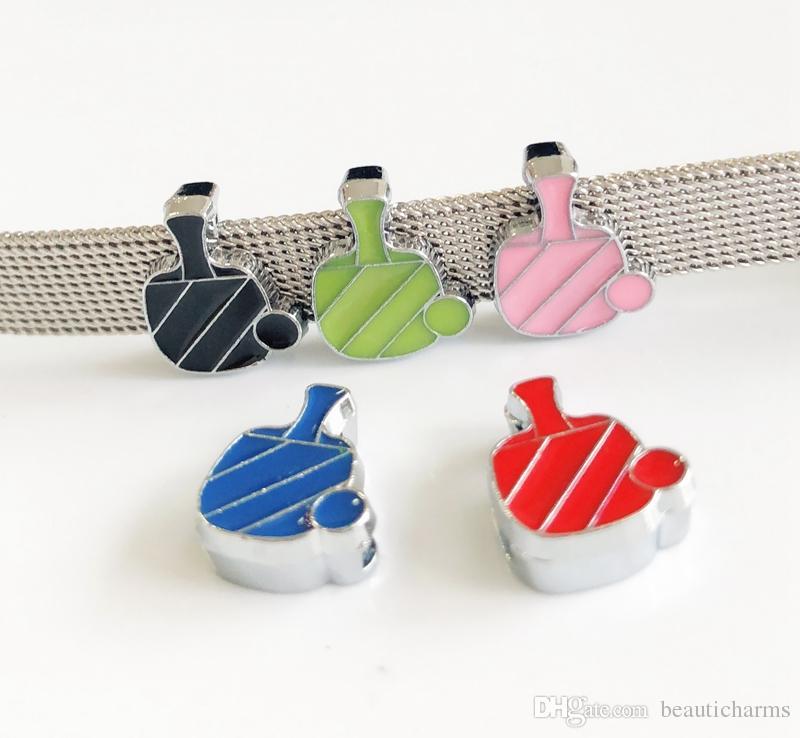 10pcs 8MM Enamel Mixed color Table tennis Slide Charms Beads DIY Accessories Fit 8mm Collar Belts Bracelets