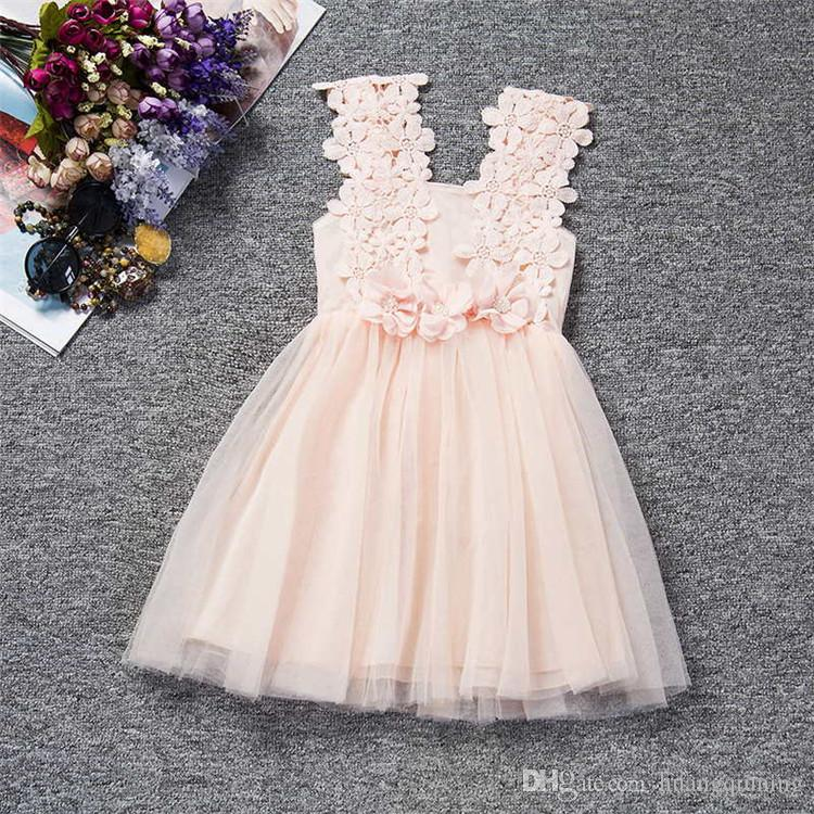 Retail Fashion Girls Lace Crochet Vest Dress Sundress Princess Girls Sleeveless Vest Girl Dress Baby Party Dress Kid Boutique Summer Clothes
