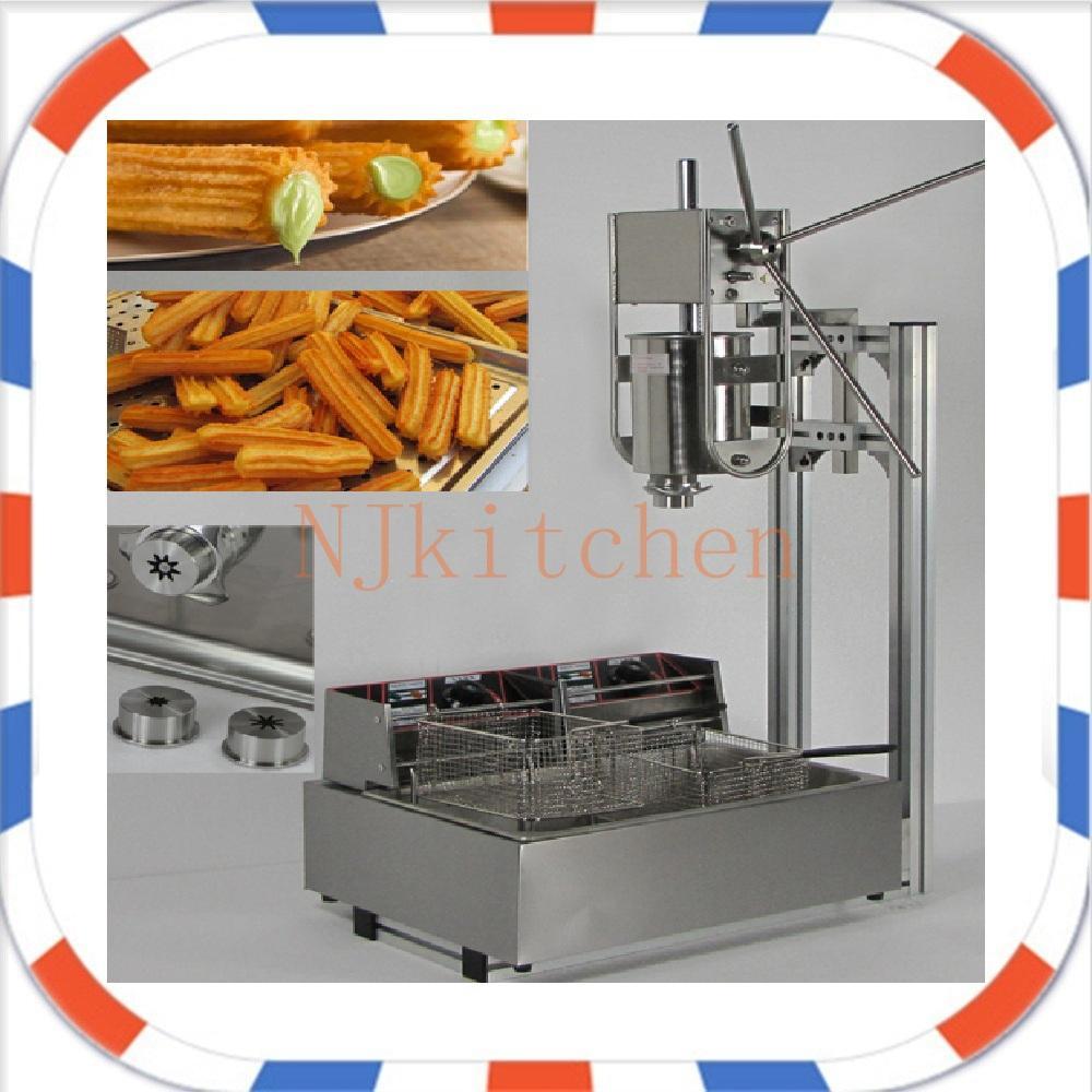 Livraison gratuite Utilisation commerciale presse électrique Churros 3L +12 L Churros friteuse vient avec 5 buses creuses et solides