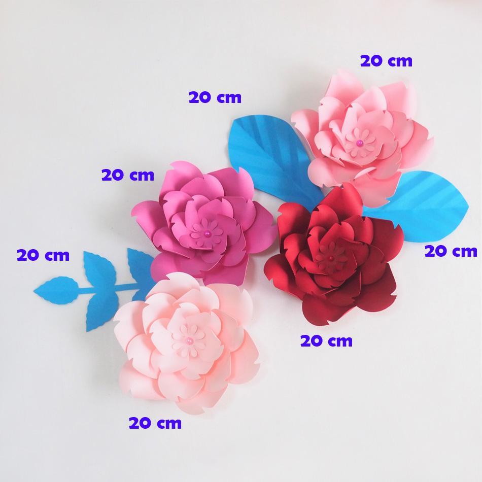 DIY гигантские бумажные цветы искусственные розы Fleurs Artificielles фон 4 шт. + 3 оставить свадьба декор питомник розовая роза красная