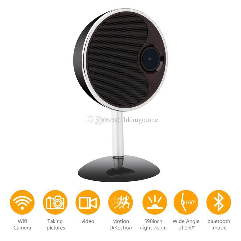 HD 1080P WiFi Bluetooth Speaker Camera Music Player Wireless IP Camera Nanny Cameras with Motion Detection Home Security Mini Camera