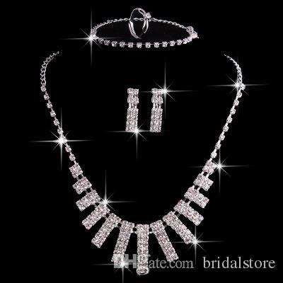 Venta caliente 4 Sets de Cristal Conjuntos de Joyas Nupciales de Plata Accesorios de Boda Artificiales Con Collar Pendientes Anillo y pulseras de boda