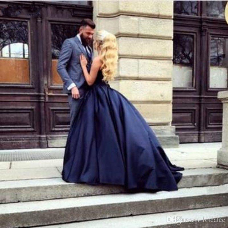Simple Navy Blue Long Evening Dress Ball Gown Sweetheart Satin Long Party Gowns 2019 Sleeveless Formal Prom Dresses