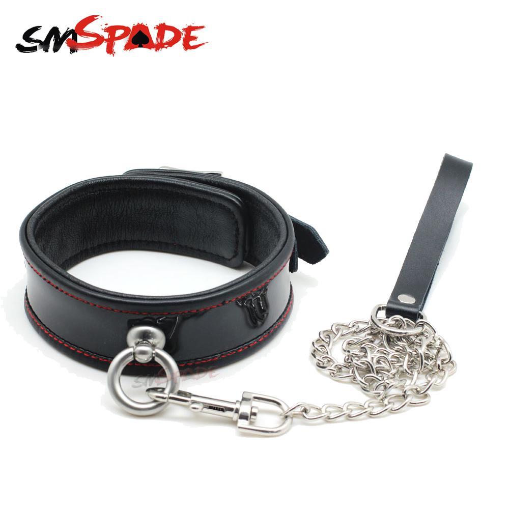 SMSPADE Fetish Black Genuine Leather Bondage Slave Collar Erotic Sex Neck Collar Leash with Metal Chain Sex Toys for Couple Y18100802