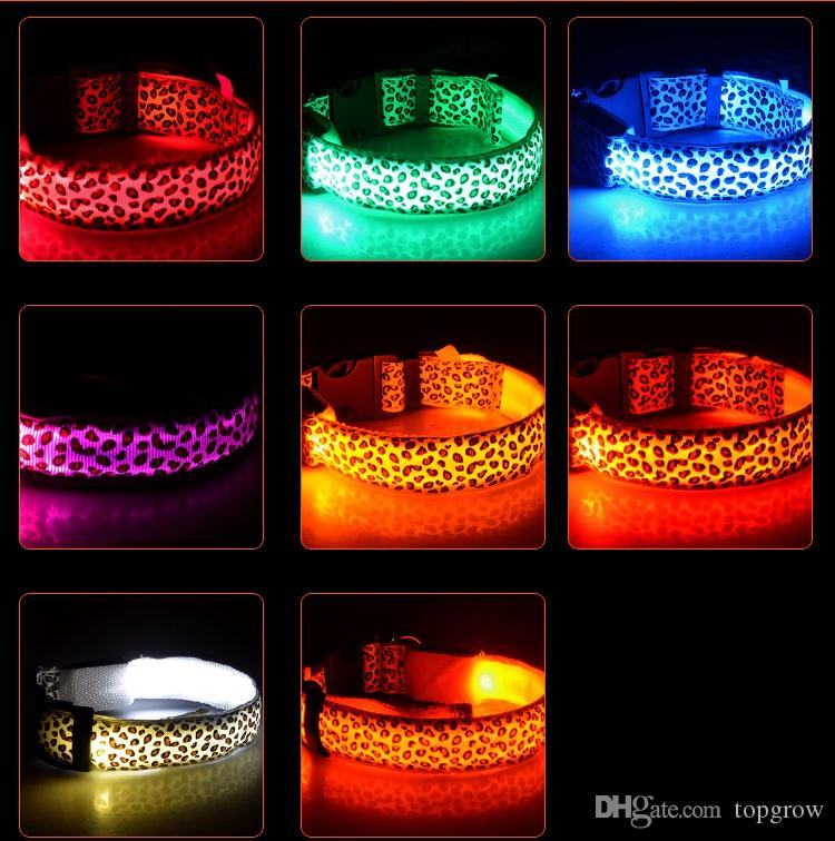 Pet Dog LED Collar Glow Cat Collars Flashing Nylon Neck Light Up Training Collar For Dogs 9 Colors Pet Supplies Dog Collars H0171