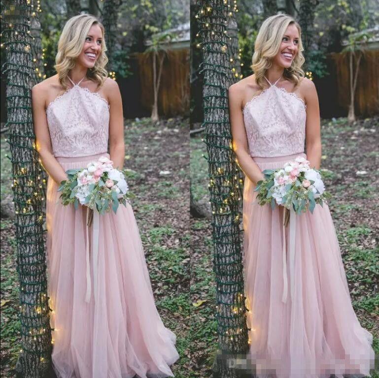 Sexy halter rosa damigella d'onore abiti tulle pizzo lunghezza lunghezza lunga cameriera d'onore abito da sposa abito da sposa