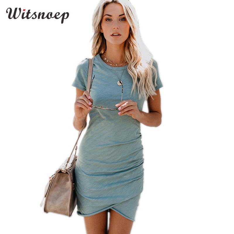 Witsnoep Women Summer Dress 2018 Sexy Tunic Bodycon Pencil Mini Dress Women Short SLeeve Party Sundress Blue Robe Femme