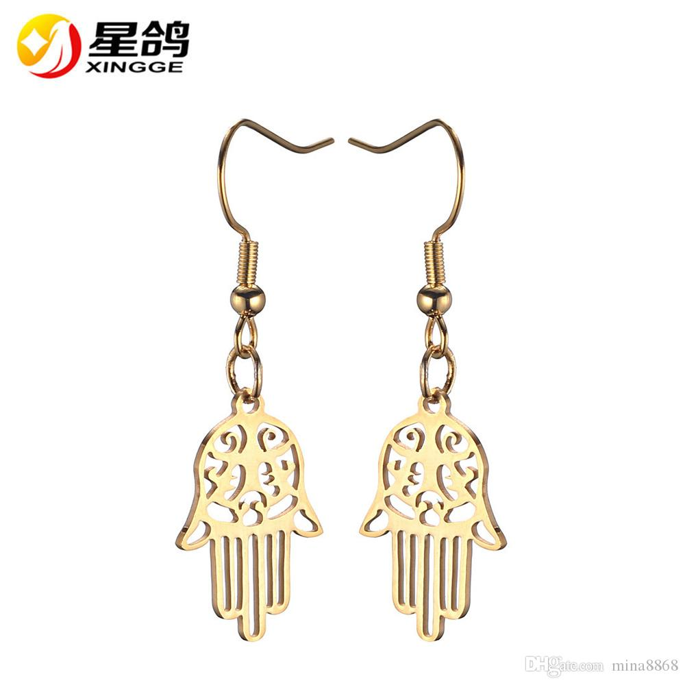 stainless steel hamsa hand Earrings trendy luck jewelry steampunk gift silver/gold color hamsa hand earrings for girl