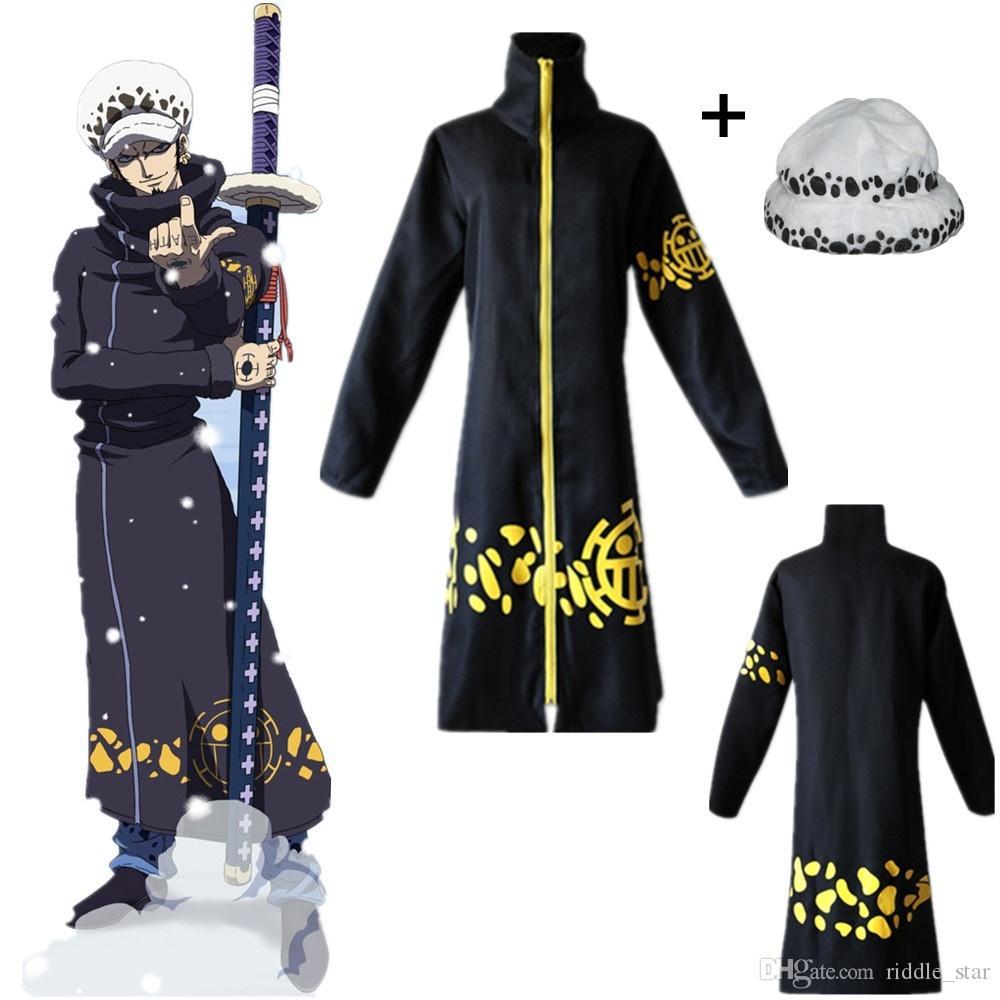 Asya Boyut Japonya Anime Unisex Tek Parça Trafalgar Law Siyah Cadılar Bayramı Cosplay Kostüm Uzun Kollu Cloak