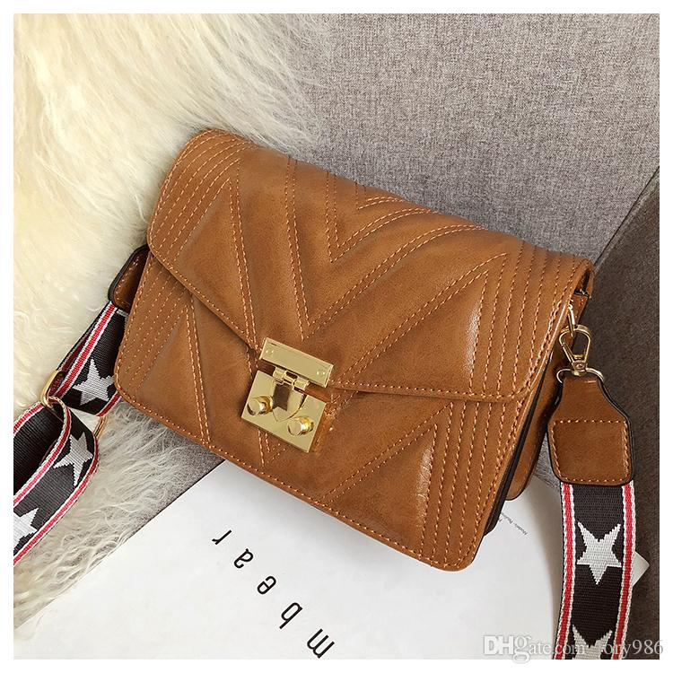 New Style Stripes messenger Bags Women monederos y conjunto New Fashion Shoulder Wide Strap bags dado wanggong / 11