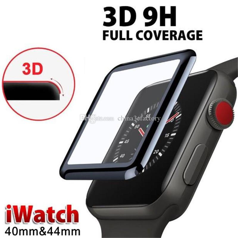 Pour Apple Watch iwatch série 4 Film de protection d'écran en verre trempé courbé en 3D de 38 mm, 42 mm, en verre trempé de pleine couverture, pour iwatch série 4