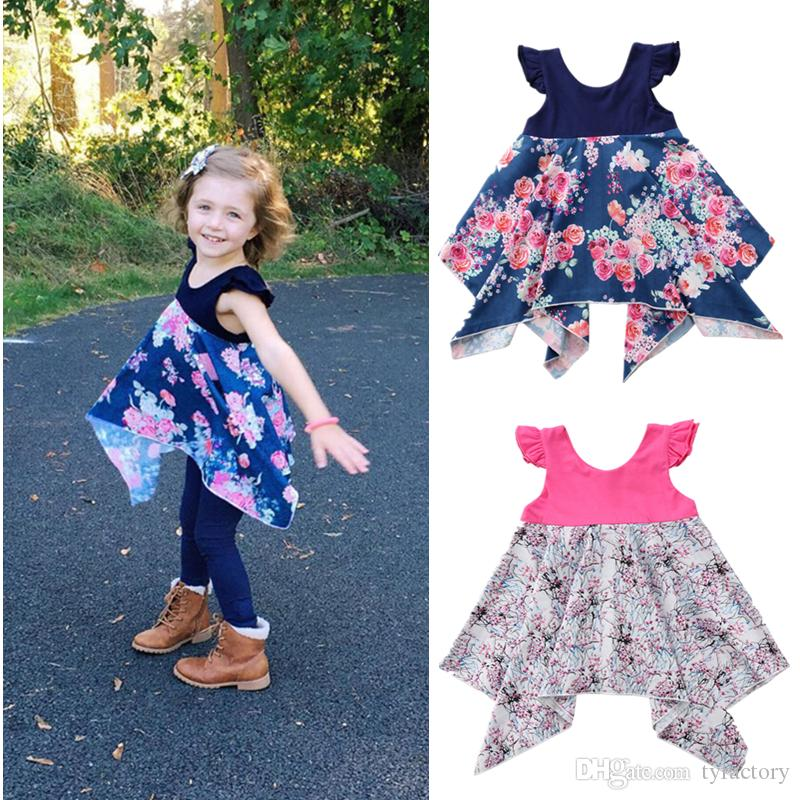 Sweet Baby Toddler Kid Girl Pageant Dress Princess Pink Blue Tutu Dress Floral Party Ball Dress Girls Boutique Clothing Children Clothes