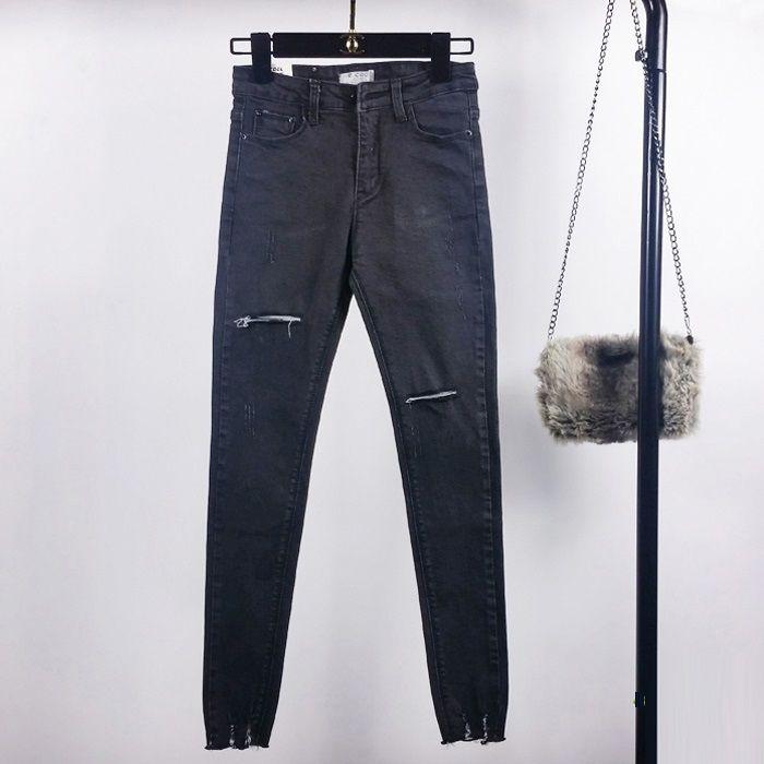 Baumwolle Sommer Hohe Taille Röhrenjeans Weibliche Bleistifthosen Boyfriend Hole Ripped Jeans Coole Denim Damen Jeans