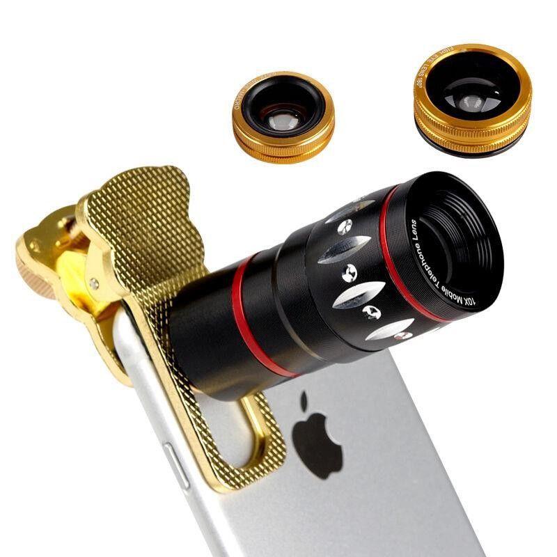 Kedi Cep Telefonu Lens Kit 10X Zoom Optik Teleskobu + Clip-Geniş 1 telefon Kamera lensi de Açısı + Makro + Balık Gözü göz merceği Evrensel 4