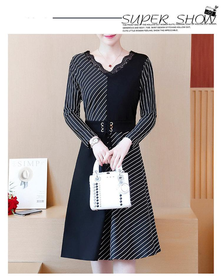 2019 Korean Fashion Women Dress Autumn Large Size Dresses Striped Patchwork Dress Ladies Lace V-Neck Long Sleeve Vestidos Robe Femme (1)